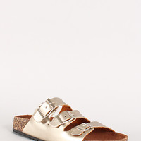 Metallic Open Toe Flat Sandal