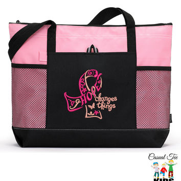 Personalized Hope Changes Things Breast Cancer Awareness Zippered EmbroideredTote Bag with Mesh Pockets, Beach Bag