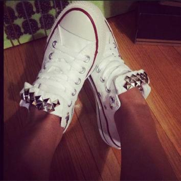 CREYUG7 Custom Studded White Converse All Star - Chuck Taylor Shoes - ALL SIZES & COLORS!
