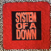 SYSTEM Of A DOWN - Upcycled T-shirt Mini Baby Quilt - ooak