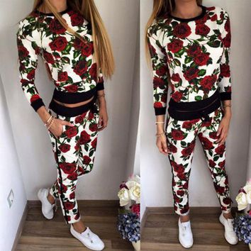 DCCK6HW Women Casual Fashion Multicolor Flower Print Long Sleeve Trousers Set Two-Piece Sportswear