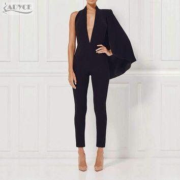 2018 Women Celebrity Runway Jumpsuit Black Deep V-Neck Halter half Batwing Sleeve Rompers Woman Jumpsuit Sexy Bodycon Bodysuits