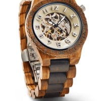 Dover Zebrawood & Dark Sandalwood - Mechanical Wood Watch by JORD