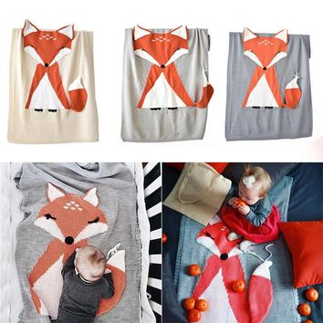 Baby Wrap Bedding Fox Soft Warm Knit Blanket