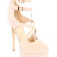 Nude Strappy Cute Fall High Platform Heels Faux Suede
