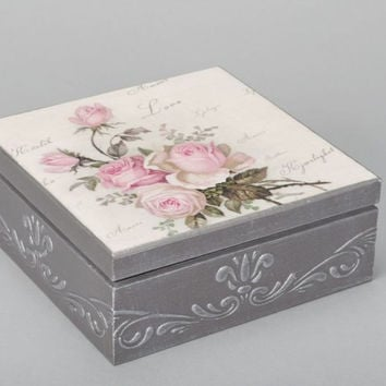 Handmade Decoupage Box Made Of Wood For Accessories Interior Decor Ideas Gift