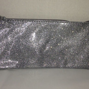 Monogrammed Silver Glitter Pencil Case - Pencil Bag - Monogrammed Bag - Personalized Pouch - Customized Pencil Bag  - Silver - Glitter
