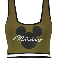 Mickey Slogan Square Neck Crop Top | Boohoo