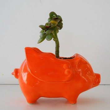 Ceramic When Pigs Fly 60s Mini Desk Pig Planter Vintage Design in Orange