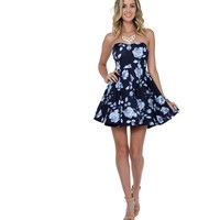 Navy Budding Roses Dress