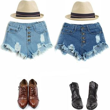 Free Shipping 2016 summer New Hole Punk Rock Casual Vintage Ripped Retro Denim Jeans Sexy High Waist Shorts Women
