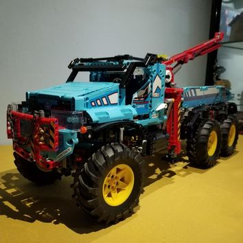 New Technician Technic Radio Remote Control 6x6 All Terrain Tow Truck Pickup Lepins Building Block Model Brick Rc Toy Collection