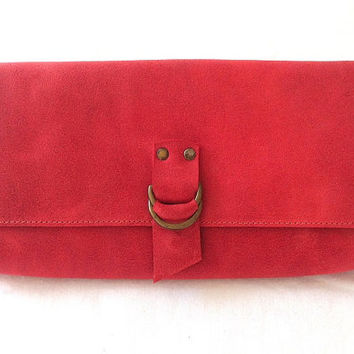 Beautiful, classic, handcrafted, red leather wallet, big & long wallet, womens wallet, distressed red, soft leather, original.