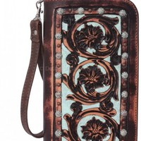 Vintage Brown & Turquoise Hand-Tooled Clutch Organizer - CO101