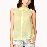 FOREVER 21 Scalloped Collar Shirt Lime Small