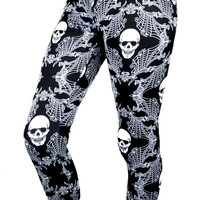 Skulls & Spider Webs Damask Black & White Leggings