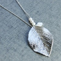 Modern white plated Leaf  Necklace  S20351 by Ringostone on Etsy