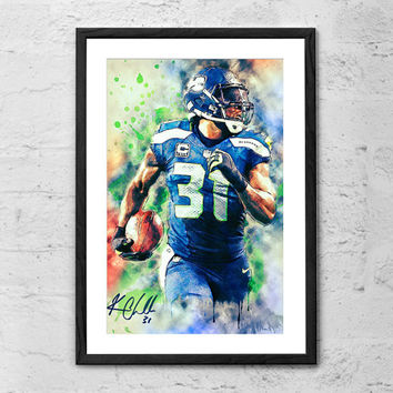 Kam Chancellor (Seattle Seahawks), Illustration - Wall Art Poster - Fine Art Print for Interior Decoration