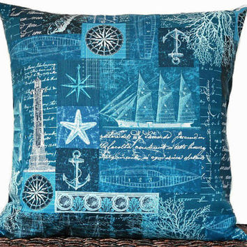 Nautical Coastal Pillow Cover Cushion Blue Navy Sailboats Compass Script Anchor Sea Coral Seashells Lighthouse Decorative 18x18