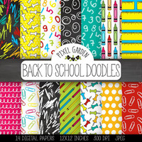 Back To School Digital Paper. Hand Drawn School, Office Supplies, Teacher, Student, Classroom. Doodle Stationery, Backpack, Paint  (0013)