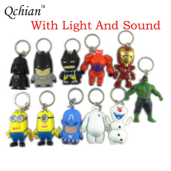 Star Wars Key Chains Darth Vader Minions keychain Holder The Avengers Alliance Hulk Iron Man Big Hero 6 Batman Olaf Led Keyrings