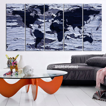 Large Wall Art Canvas World Map on Old White Wood Background - Framed Giclee Map Canvas - Ready to Hang - Blue World Map