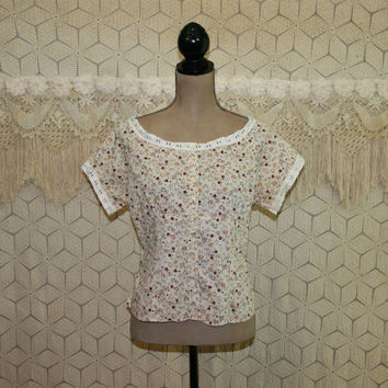 Cotton Blouse Peasant Floral Shirt Womens Top Boho Clothing Hippie Clothes Prairie Calico Eyelet Lace 90s Vintage Clothing Womens Clothing