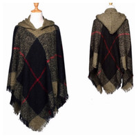"""Always My Style"" Fringe Trim Olive Green Plaid Hooded Poncho"