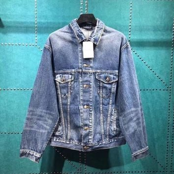 BL093 Balenciaga The Power Of Dream Patchwork Wash Denim Jacket
