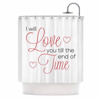 "NL Designs ""I Will Love You"" White Red Shower Curtain"
