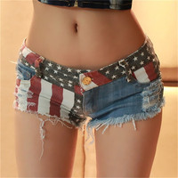 Sexy Girls American US Flag Mini Jeans Shorts Hot Pants Trousers Denim Low Waist = 1929751236