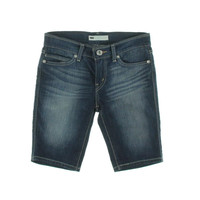 Levi's Womens Juniors Dark Wash Flat Front Bermuda Shorts
