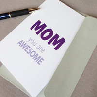 Purple print mothers day card Mom you are awesome silver envelope