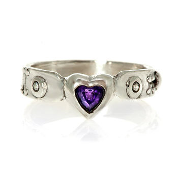 My heart Ladies Amethyst and Diamond Steampunk Industrial Ring Stering Silver 2012 release Blue Bayer Design NYC