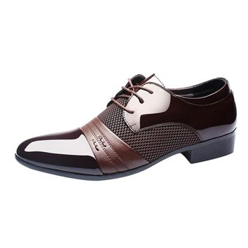 Men Business Shoes Fashion Casual Oxford Shoes Lace-Up Pointed Shoes