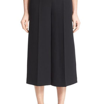 Wide Leg Silk Crepe Gaucho Pants