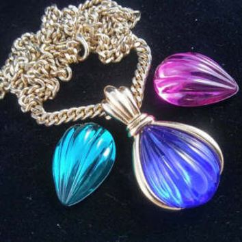 Kenneth Jay Lane Necklace - Interchangeable Glass Pendant - Blue Green Purple Stones