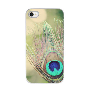 Golden Peacock Feather  iPhone Case  by paperangelsphotos