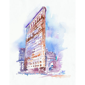 "Flatiron Building Print, New York Illustration Print series 11"" x 17"""