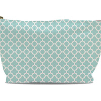 aqua quatrefoil makeup bag
