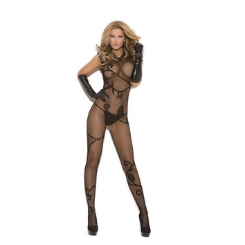 Vivace EM-8911 Fishnet bodystocking with scroll pattern