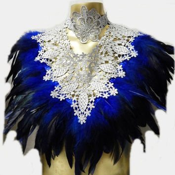 Victorian Silver LACE Royal Blue Coque Feather Corset Collar Romantic Elegance