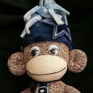 Dallas Cowboys Stuff Sock Monkey, Dallas Cowboys Redford Red Sock Monkey, Dallas Cowboys Stuff Monkey w/ Hat & Tie