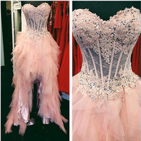 High Low Pink Beads Prom Dresses,Prom Dress