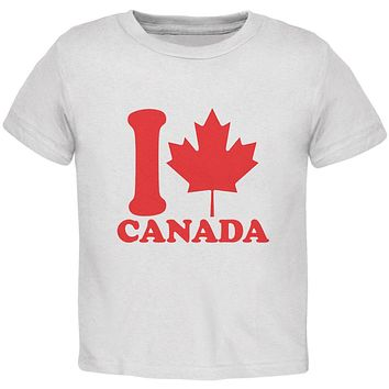 I Love Maple Leaf Heart Canada Toddler T Shirt