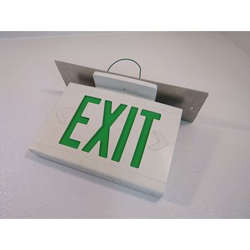 Hubbell Lighted Exit Sign Single Side 13in x 9in 120 VAC 277 VAC LED LXUGW -- Used