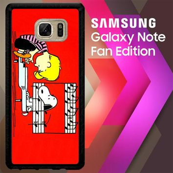 Schroeder And Snoopy Peanuts Comic Pain V 2102 Samsung Galaxy Note FE Fan Edition Case