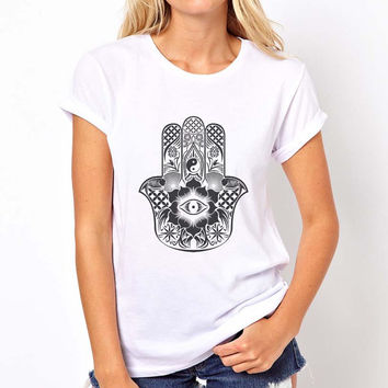 Hamsa design printed on Women Tee color White, Sport grey, Maroon, Black or Navy