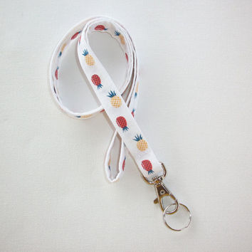 Lanyard  ID Badge Holder - mini pineapples - THINNER design  - Lobster clasp and key ring - red or blue - teacher gift