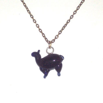 Glass Alpaca Llama Pendant, Navy Blue Hand Blown Charm Necklace on Chain or Leather